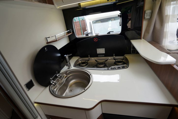 2018 Pilote Sensation P740 hob and sink open